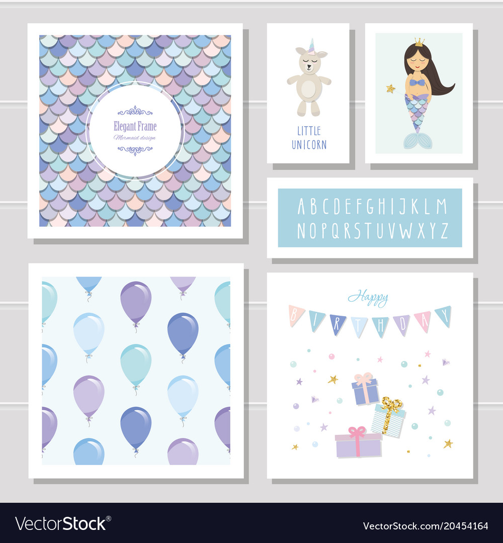 Birthday card templates set mermaid and little