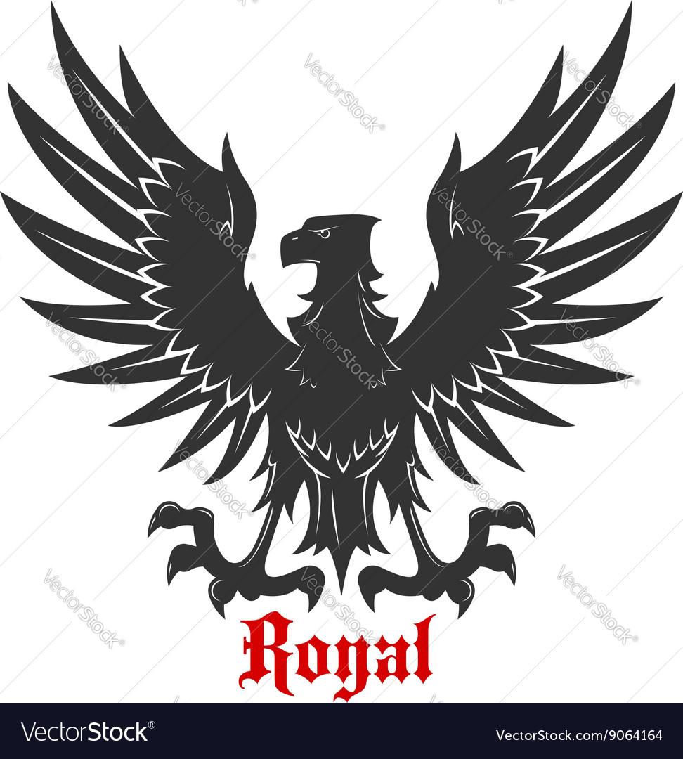 e50a84482 Black eagle attacking a prey heraldic icon Vector Image