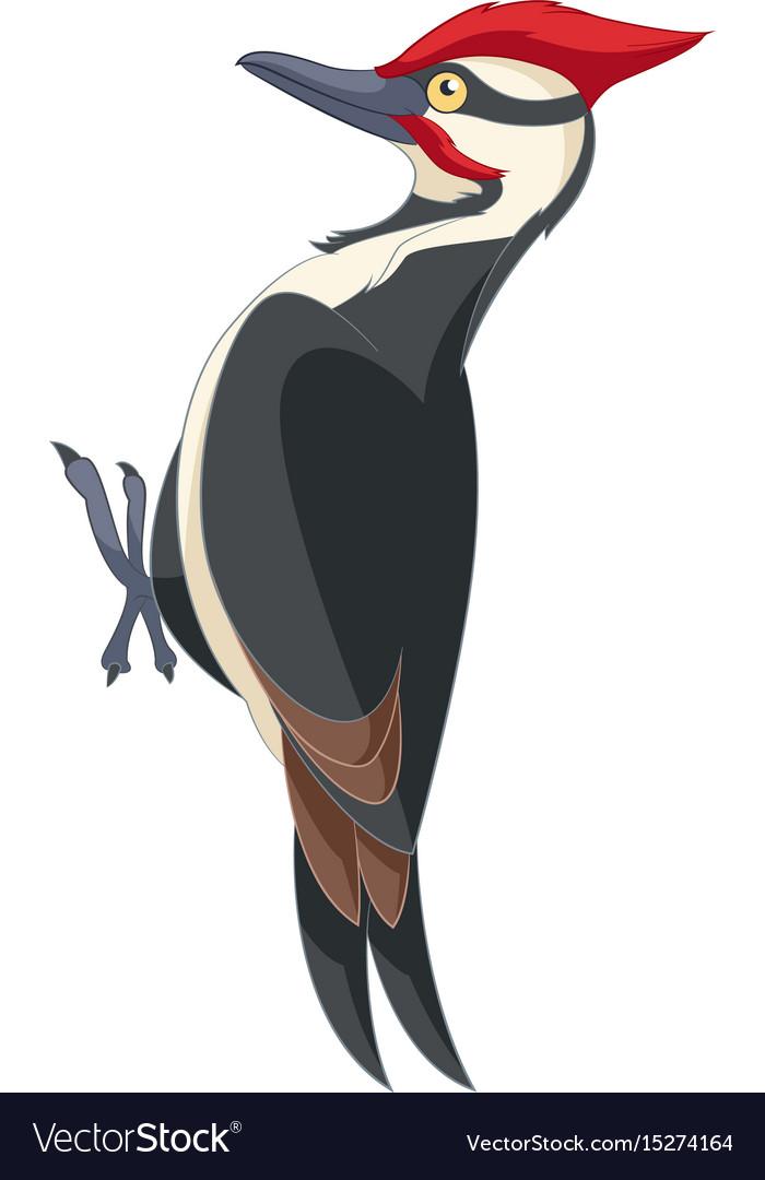 Cartoon smiling woodpecker
