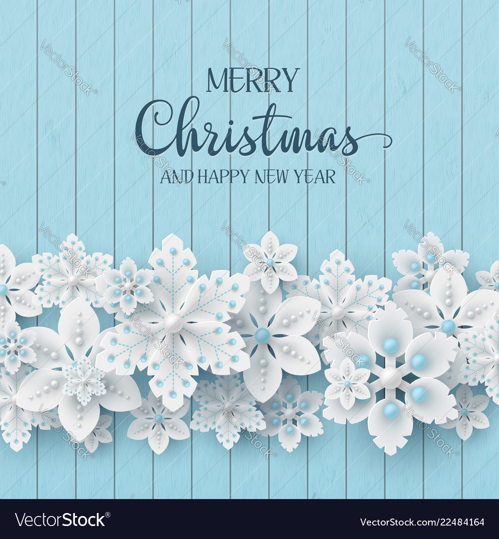 Christmas background with 3d decorative snowflakes
