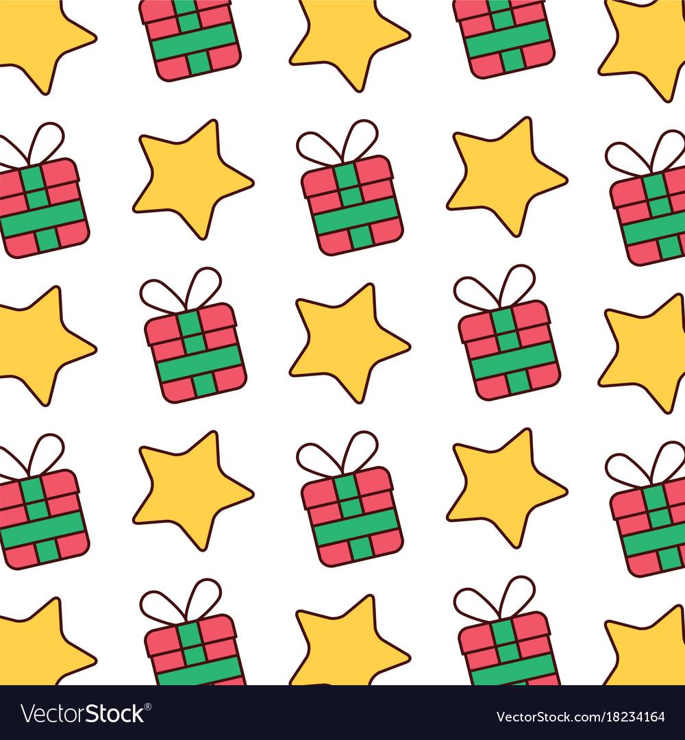 Christmas Gift Box And Star Celebration Wallpaper Vector Image