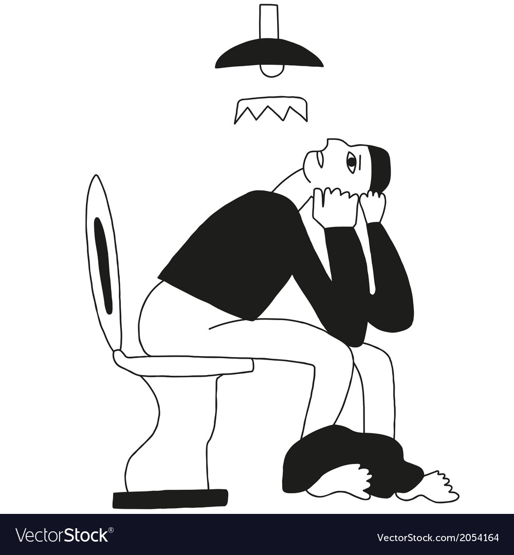Man on a toilet - cartoon vector image
