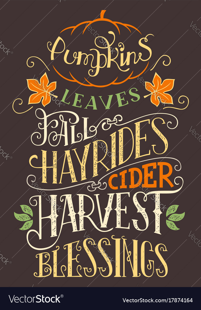 Pumpkins leaves fall hay rides typography sign