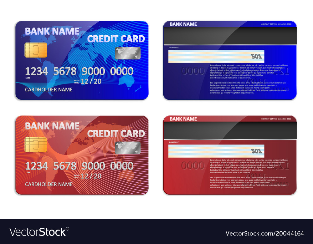 realistic blue and red bank credit card template vector image