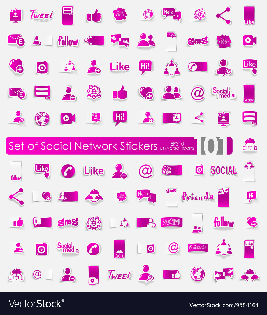 Set of social network stickers