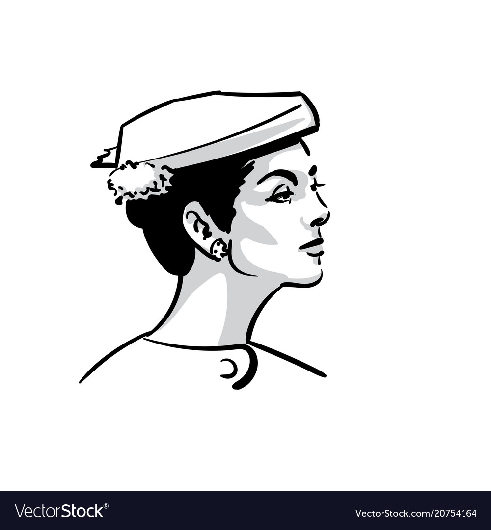 Woman face portrait with hat black and white