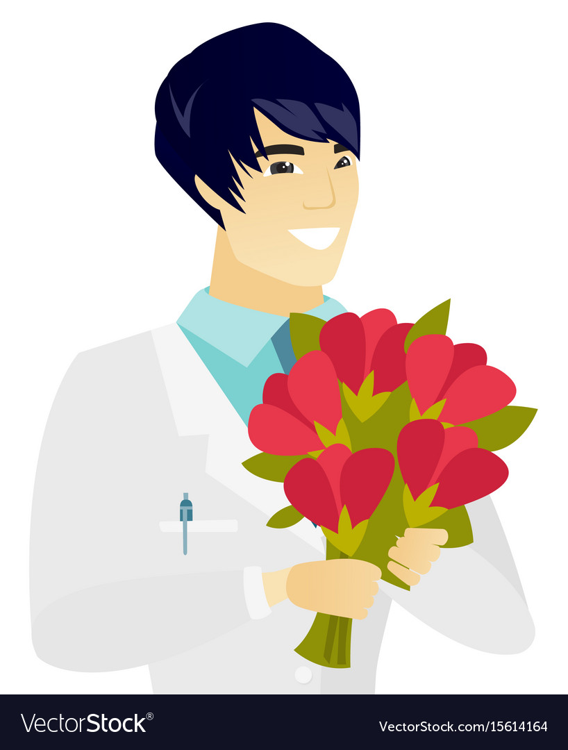 Young asian doctor holding a bouquet of flowers vector image izmirmasajfo
