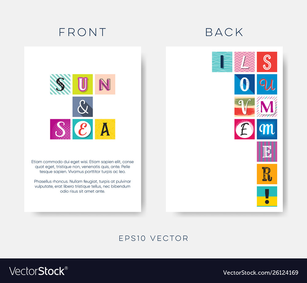 Abstract modern summer design with letters