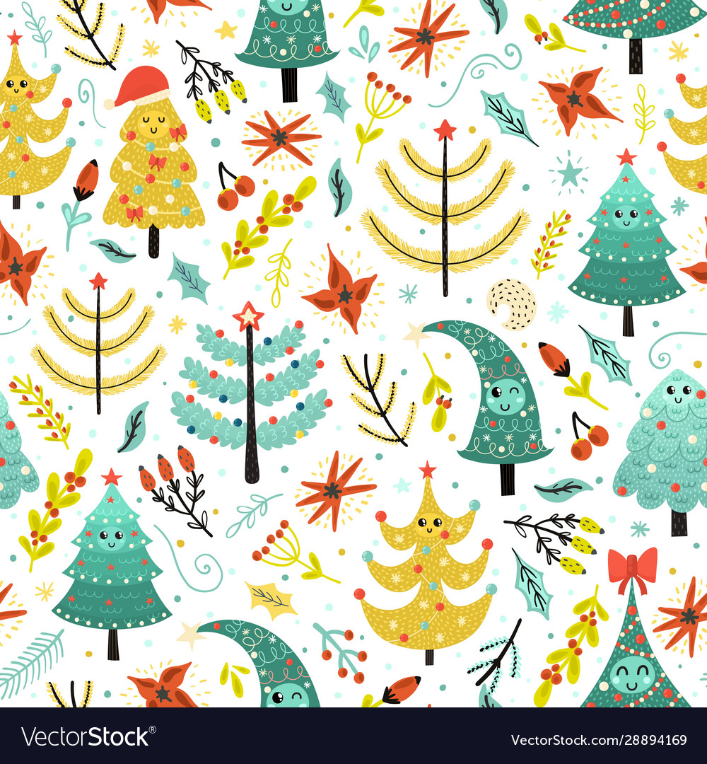 Bright christmas seamless patterns with cute trees