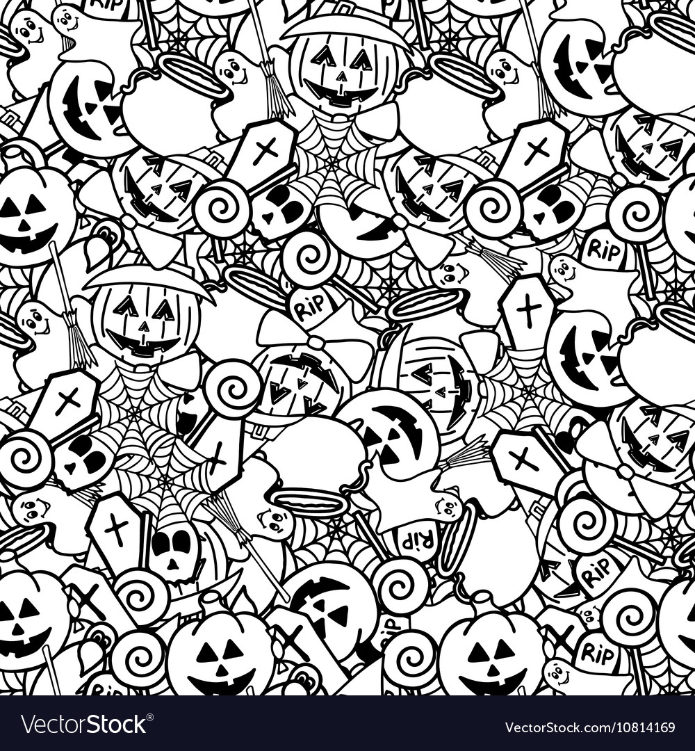 Doodle halloween seamless pattern Coloring for
