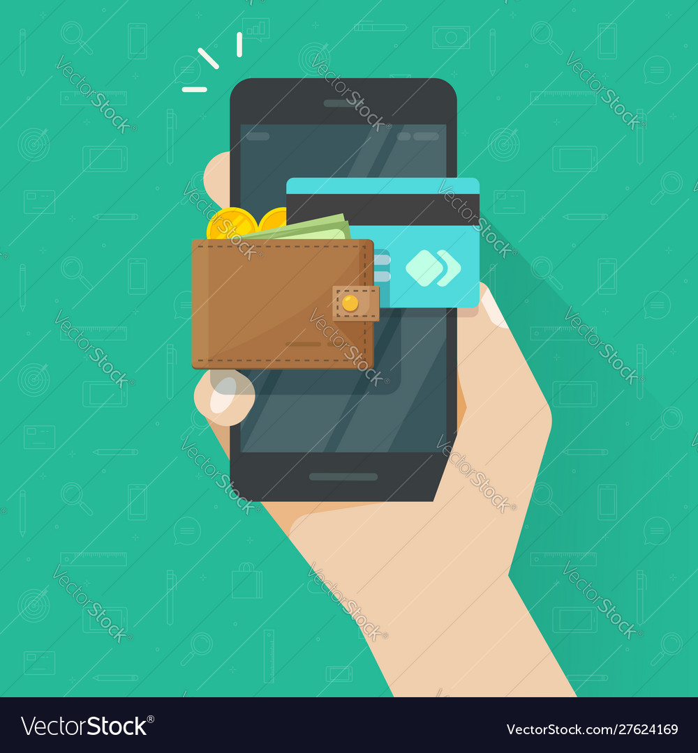 Electronic wallet on cellphone icon flat