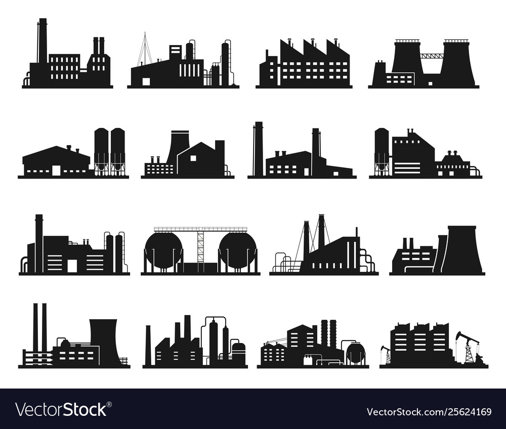 Factory building set city industry and business