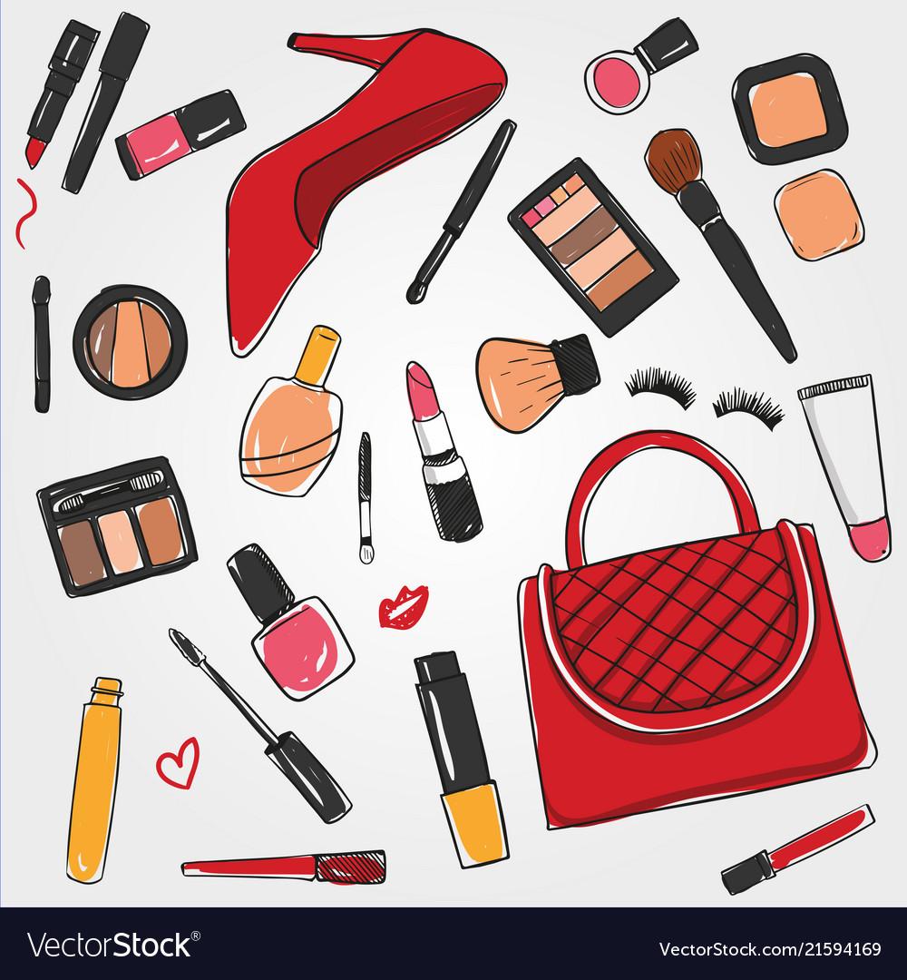 Fashion Beauty Makeup Brush Mascara Lipstick Vector Image