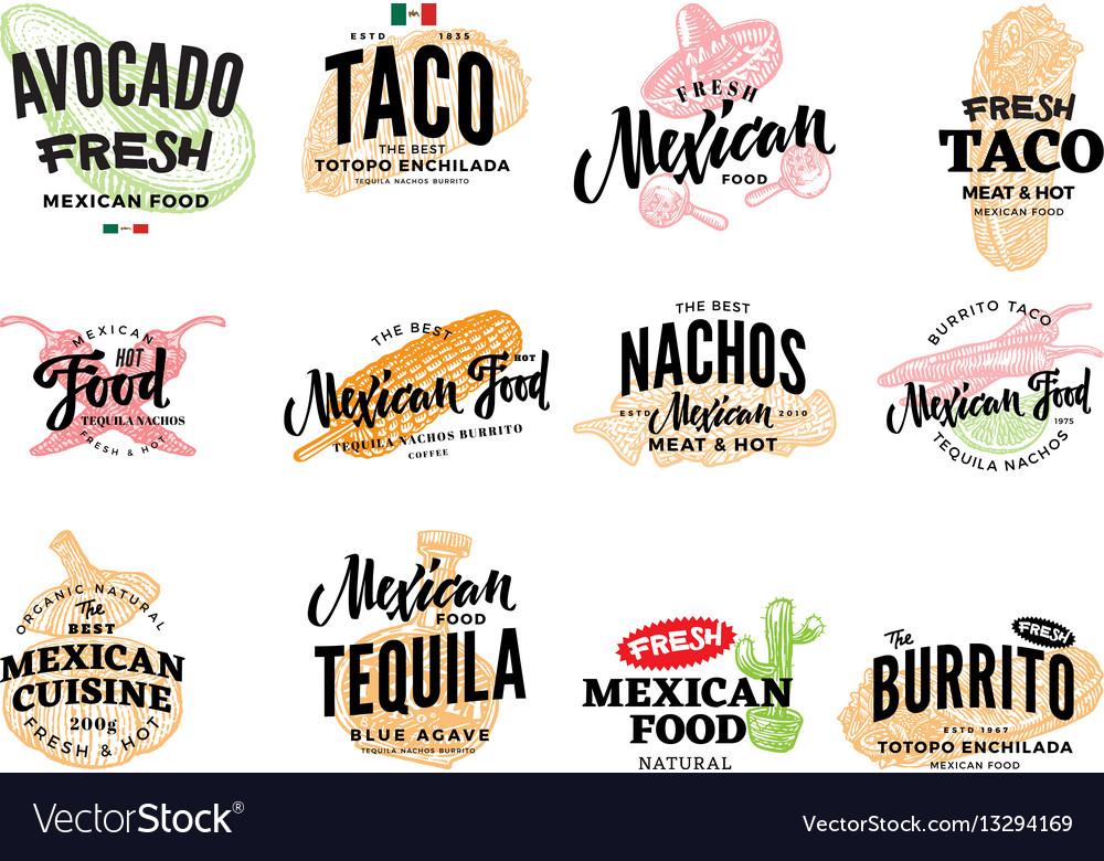 Hand Drawn Mexican Food Logos Royalty Free Vector Image
