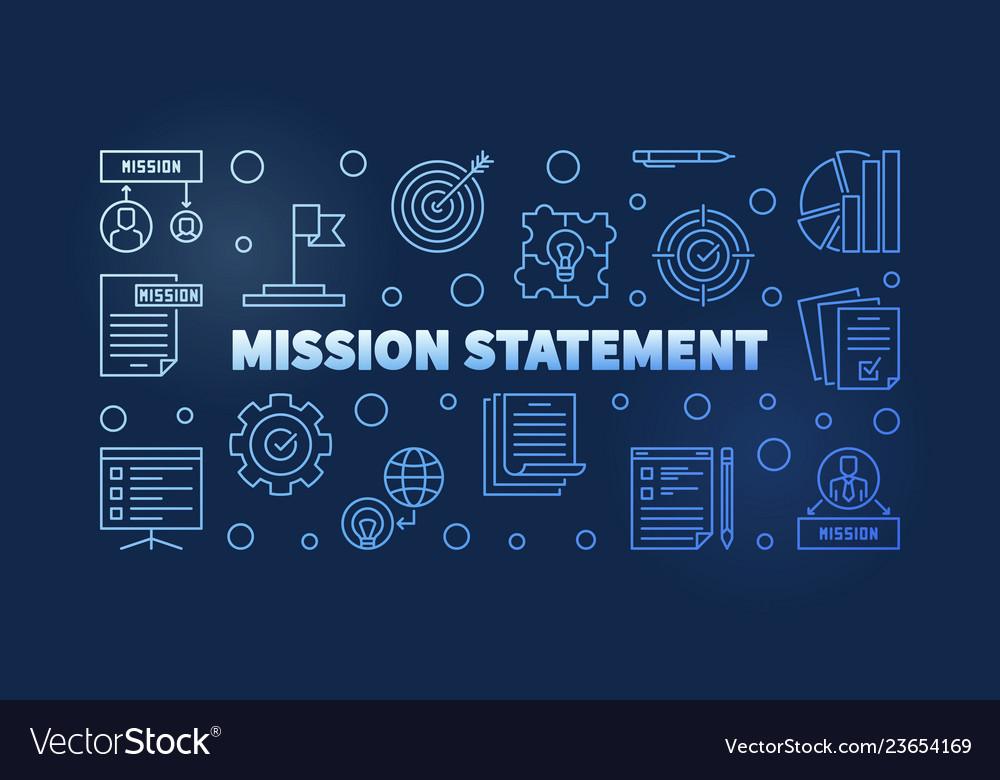 Mission statement blue outline banner