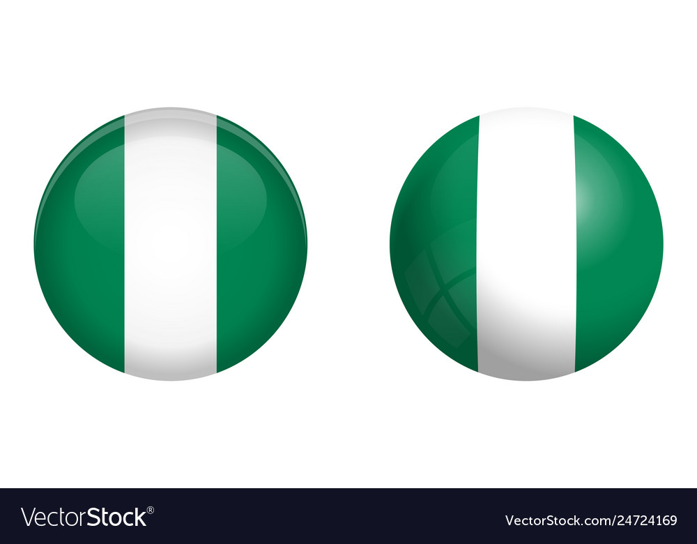 Nigeria flag under 3d dome button and on glossy