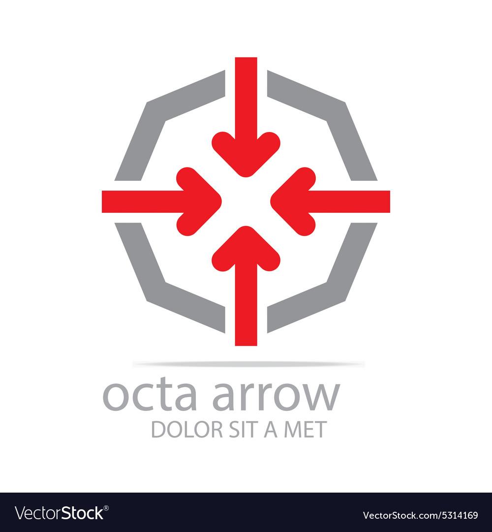 Octa Arrow Design Icon Symbol Star Royalty Free Vector Image