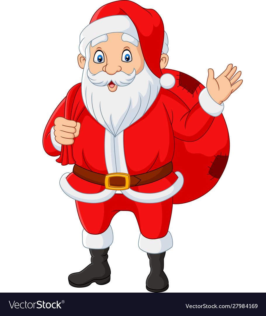 Santa claus carrying a bag presents waving