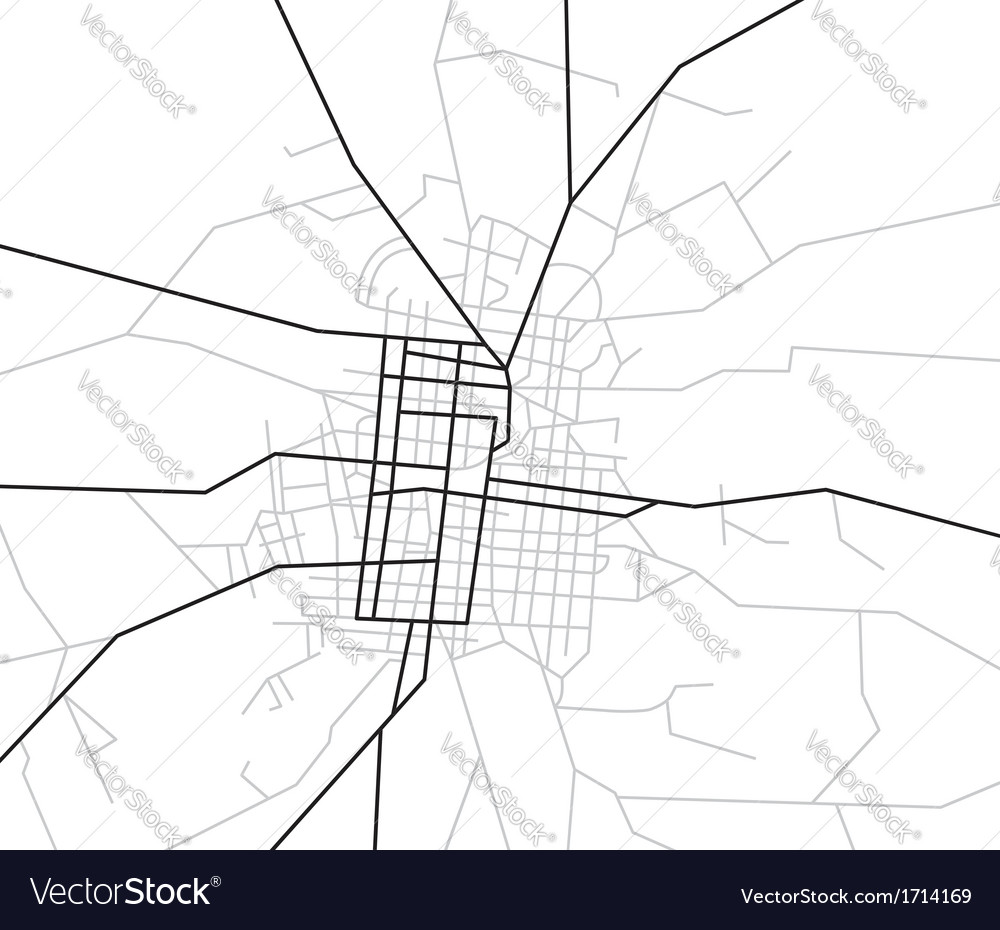 Scheme of streets - city map Royalty Free Vector Image on