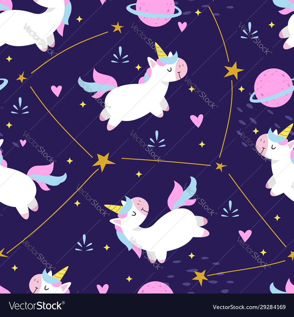 Seamless pattern cute unicorn