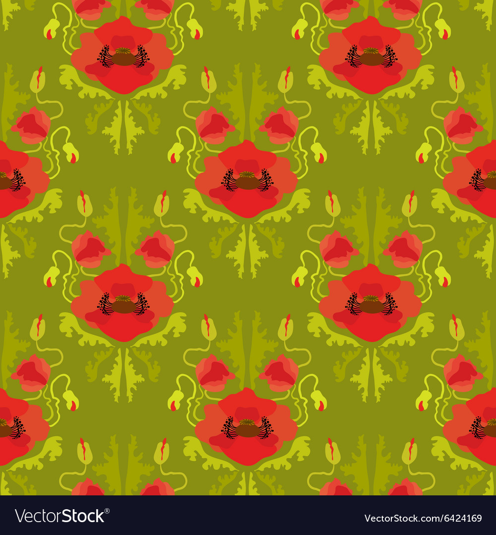 Seamless pattern with poppies on green background