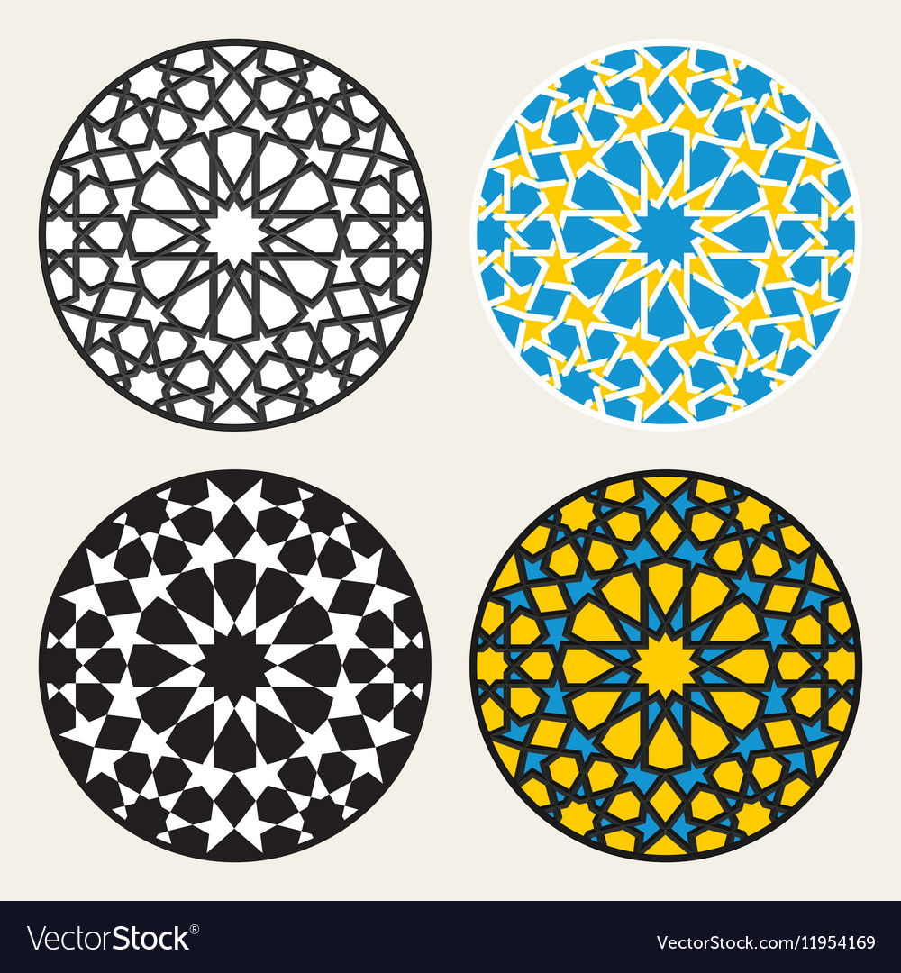 Set of Four Islamic Ornamental Rosette