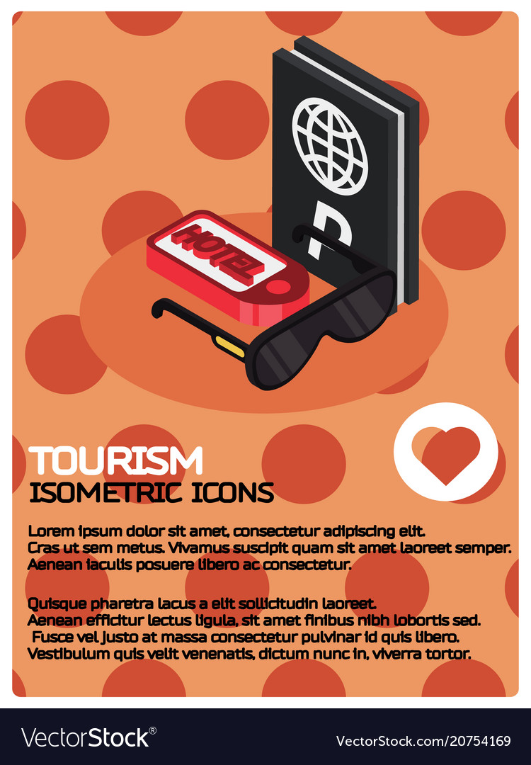 Tourism color isometric poster