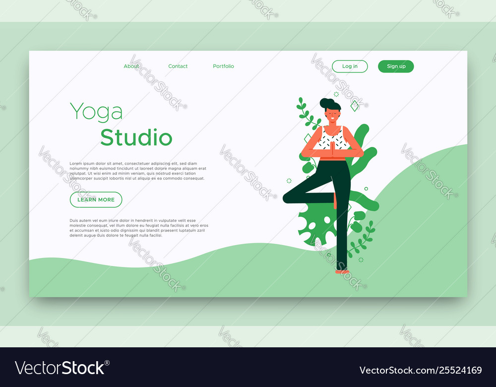 Yoga Studio Landing Web Page Template Royalty Free Vector