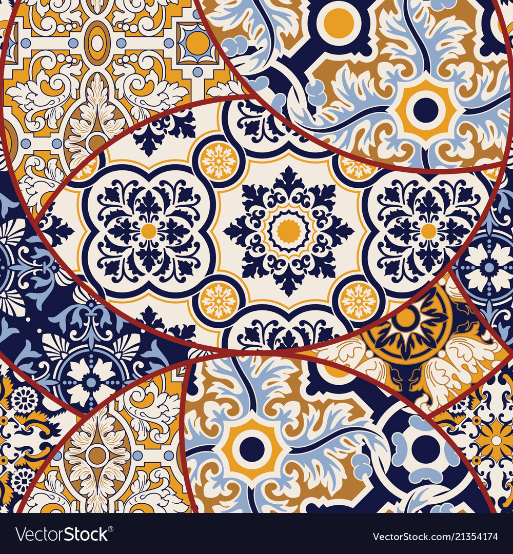 Azulejos tiles patchwork abstract wallpaper