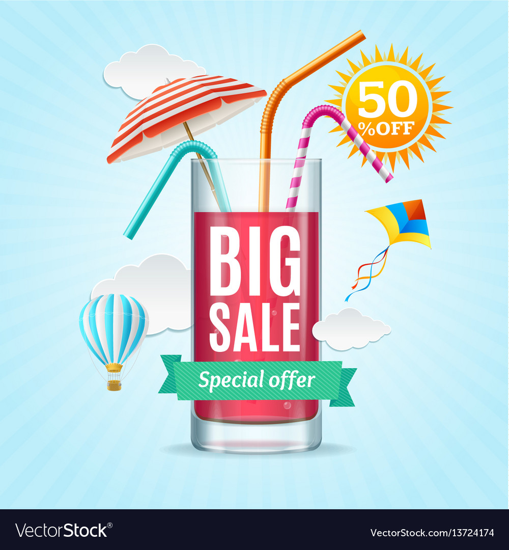 Big sale summer concept banner card or poster