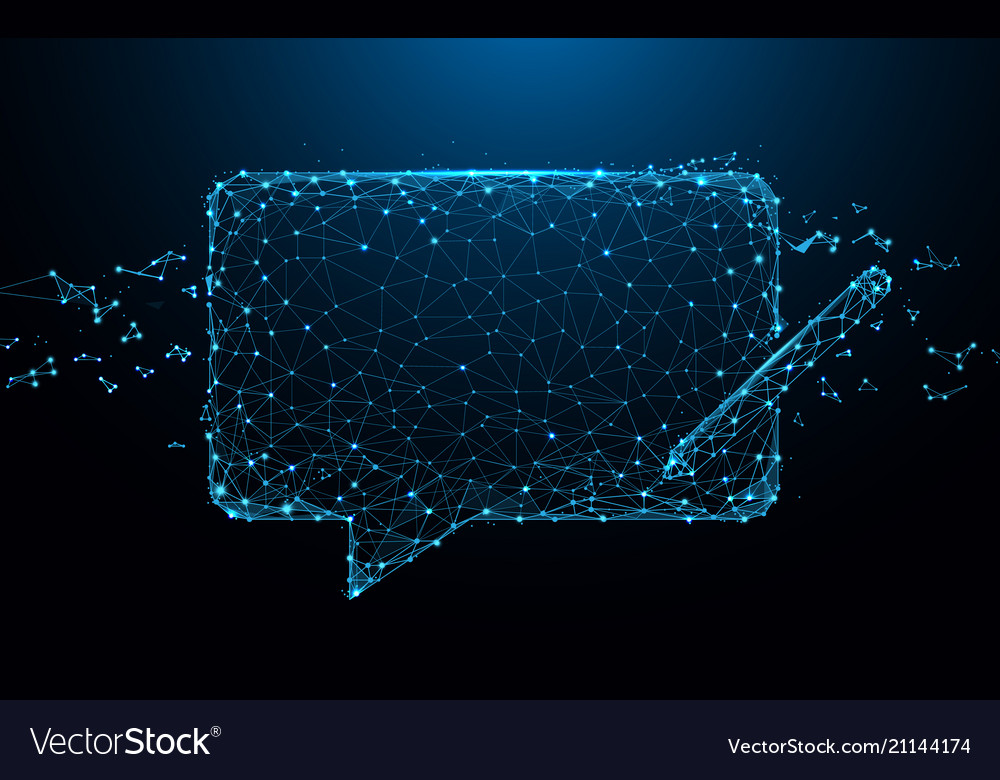 Chat messages icon form lines and particle