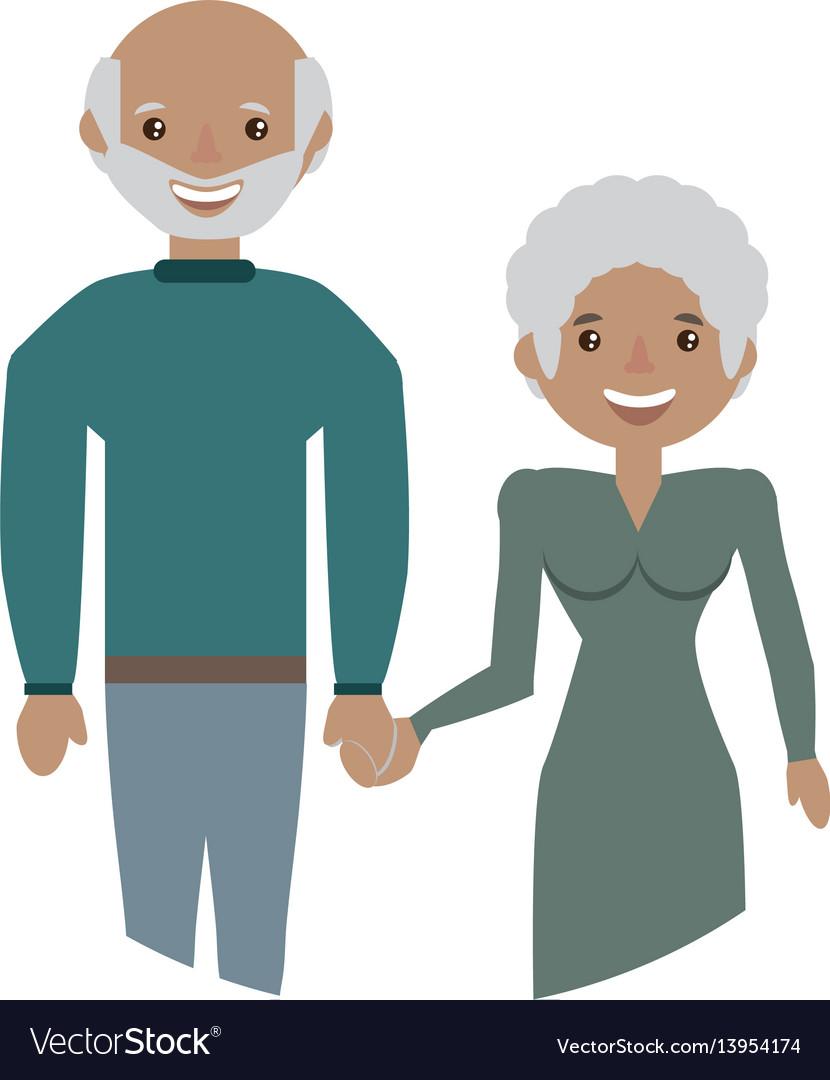 Elderly couple grandparents family
