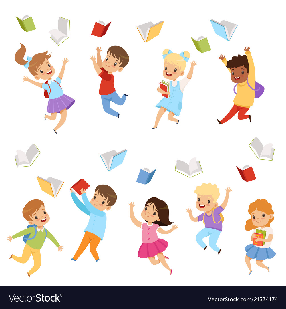 Flat set of cute kids throwing books up in