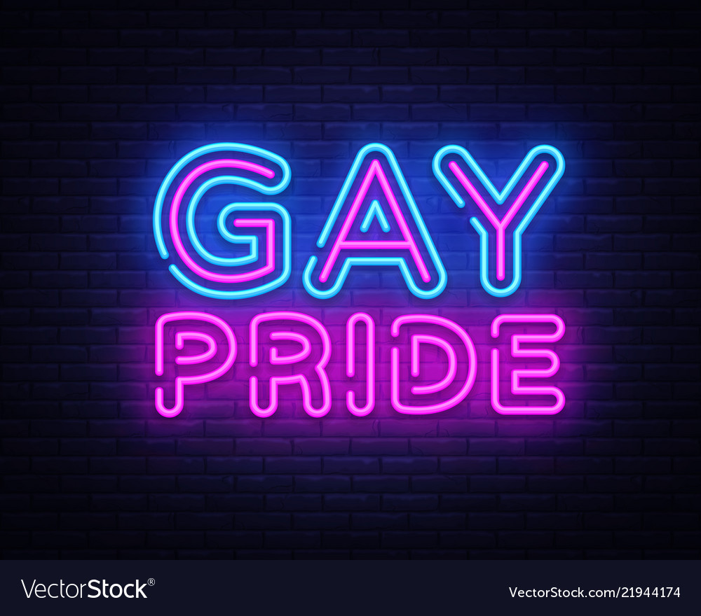 Gay pride neon sign lgbt design template