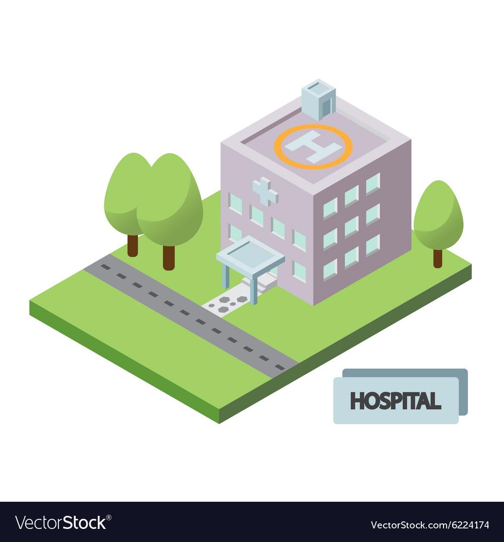 Isometric hospital building icon