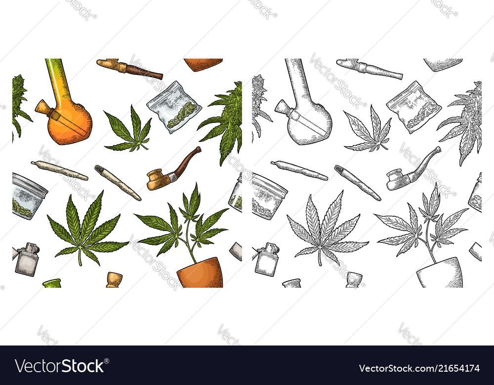 Seamless pattern with marijuana leaf vintage
