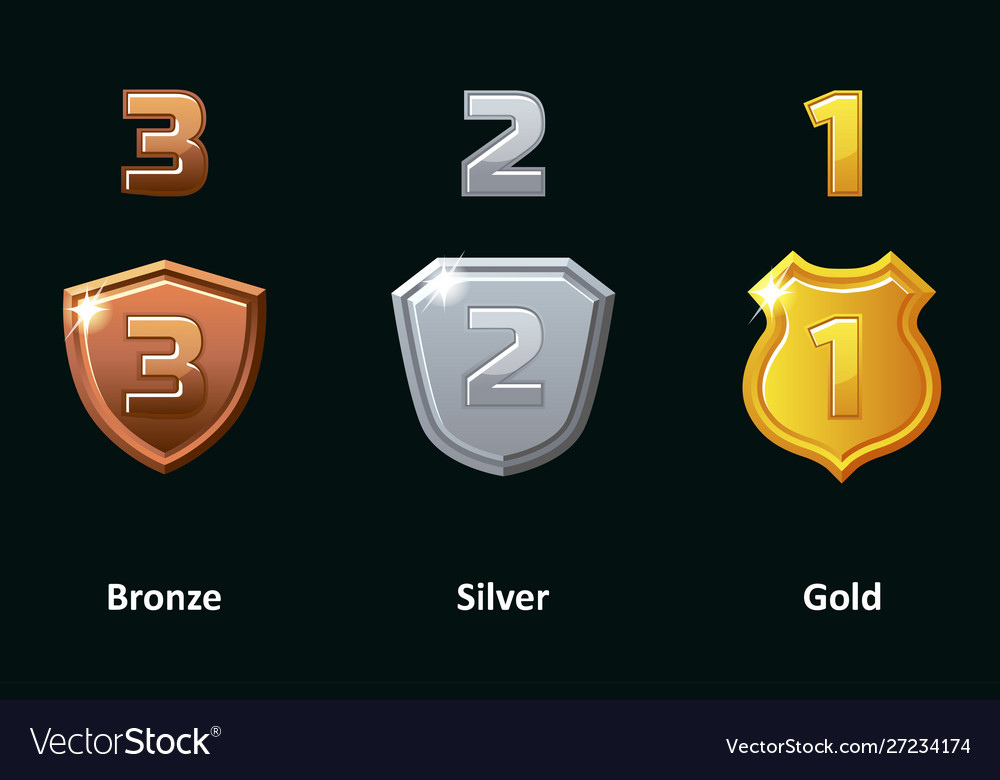 Set silver gold and bronze shield awards