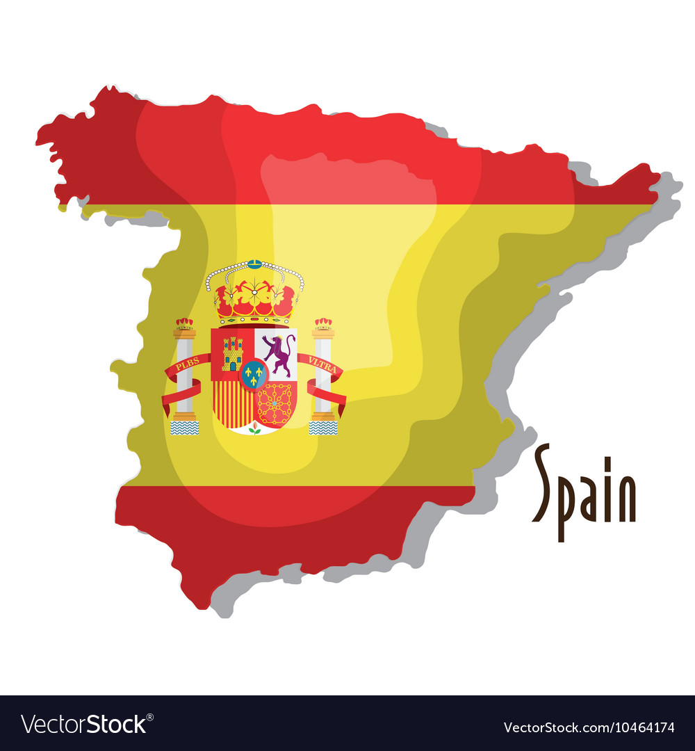 Spain map with flag isolated icon design
