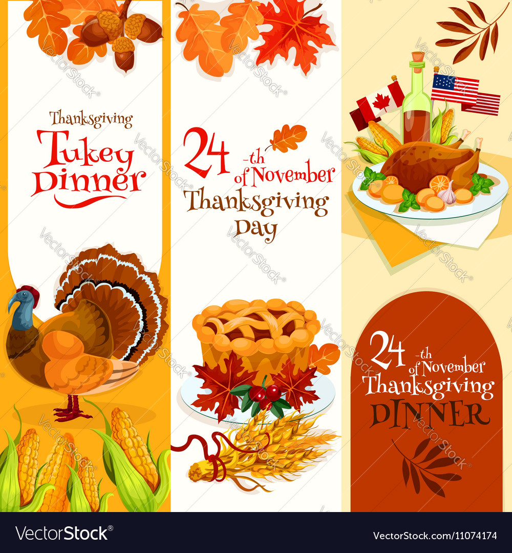 Thanksgiving Day dinner invitation banners