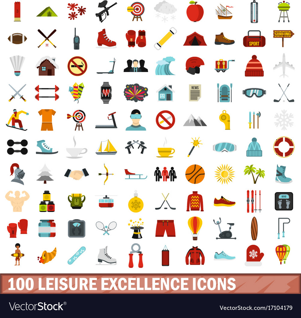 100 leisure excellence icons set flat style