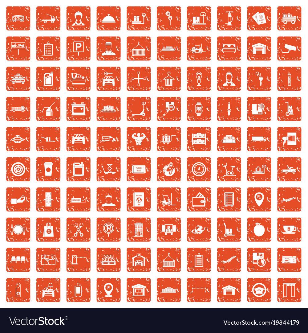 100 loader icons set grunge orange