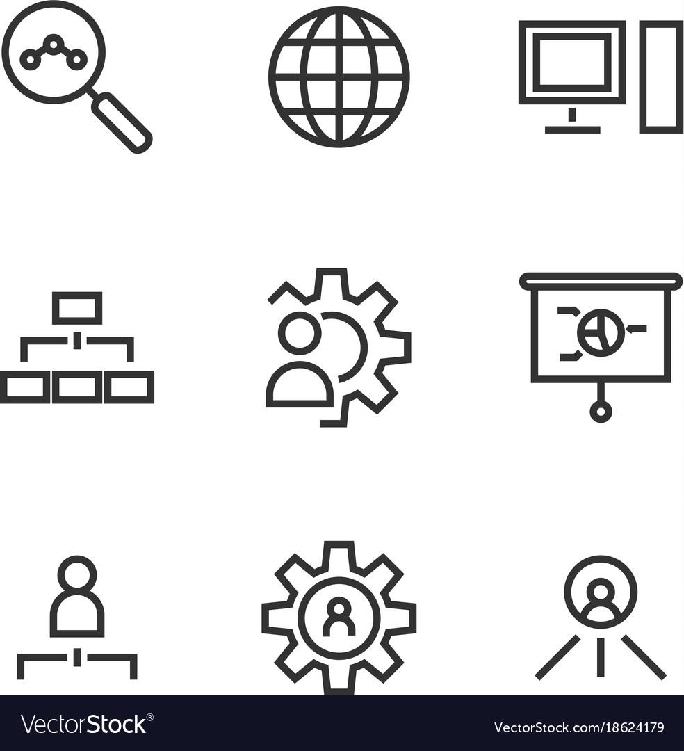 9 seo line icons