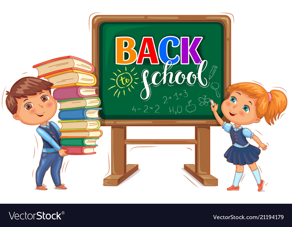 Back to school inscription on the blackboard and