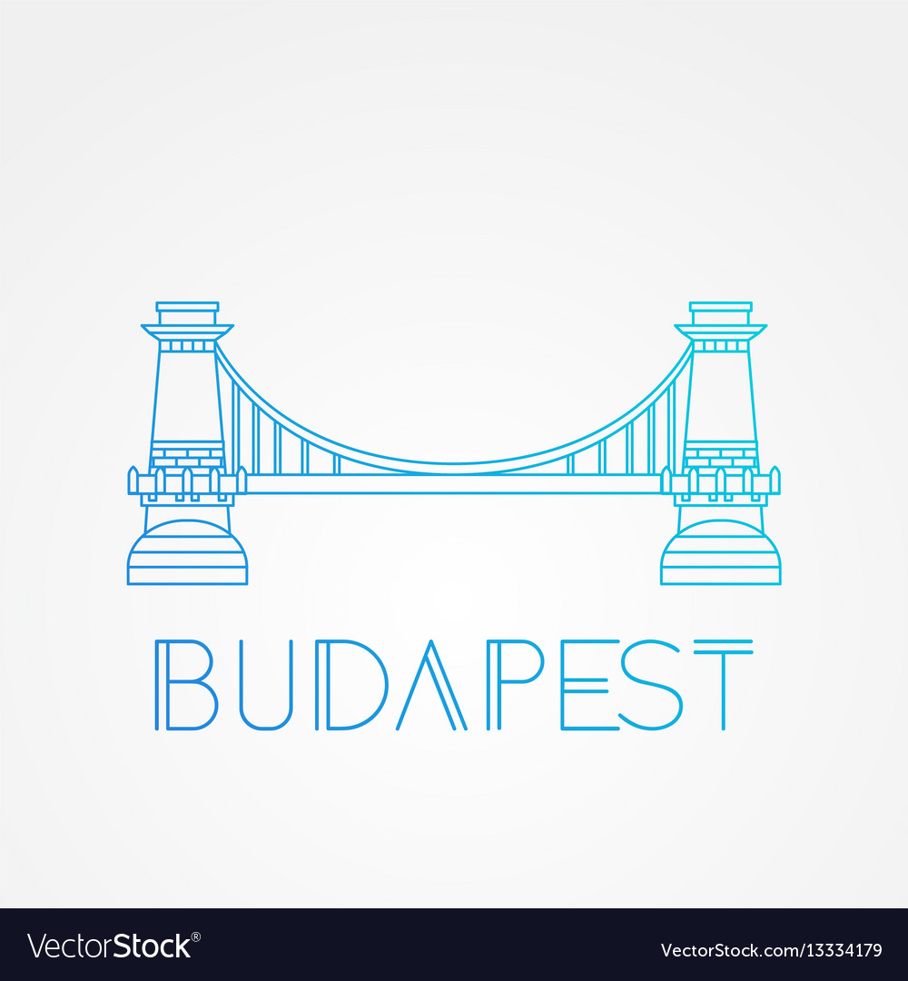 Chain bridge symbol budapest hungary vector