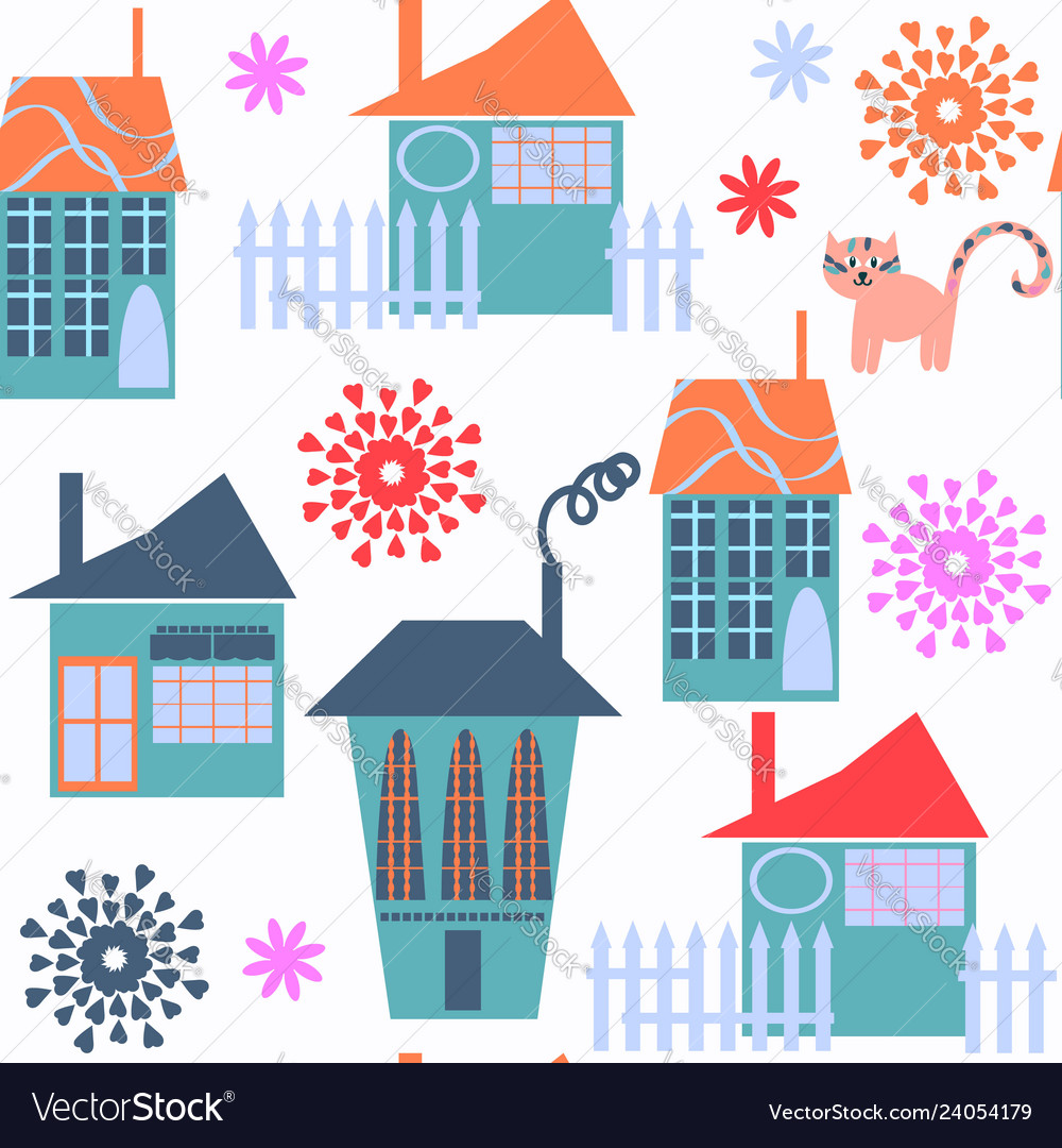 Cute modern city seamless pattern it is located