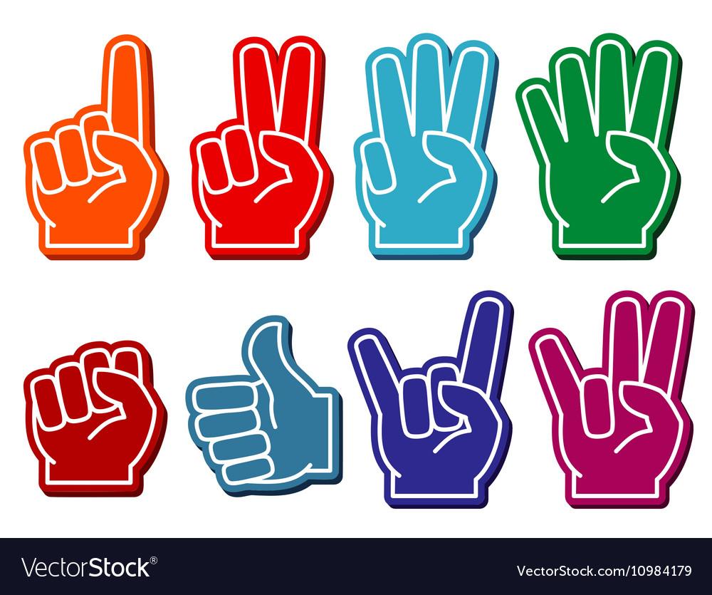 Foam fingers set vector image