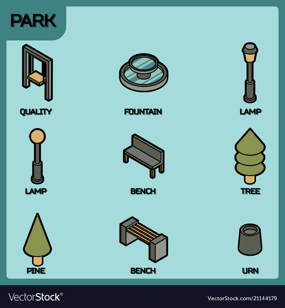 Park color outline isometric icons