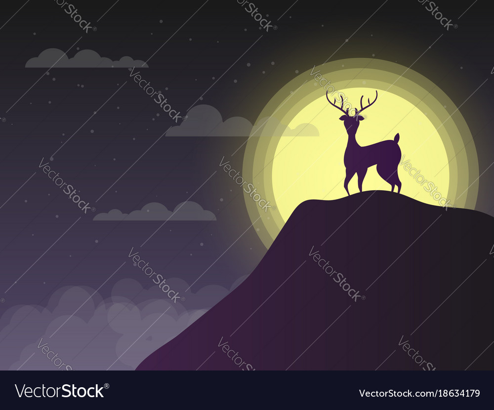 Silhouette deer standing on cliff in night with