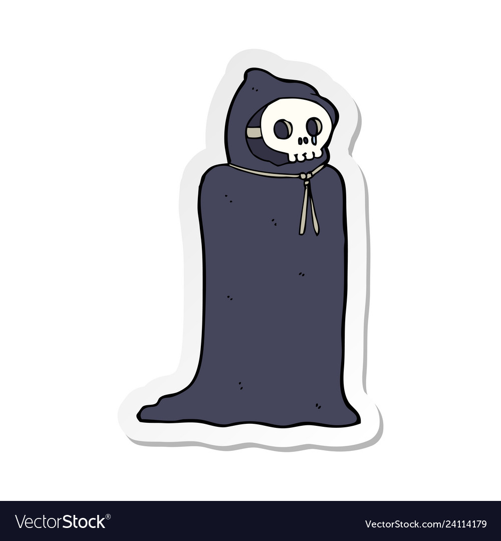 Sticker of a cartoon spooky halloween costume vector image