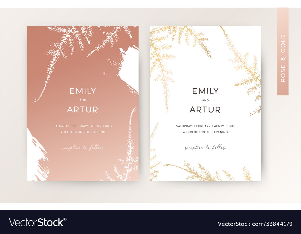 Wedding invite card floral design rose gold color